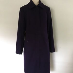 EUC CALVIN KLEIN PURPLE WOOL WALKER COAT SZ 10